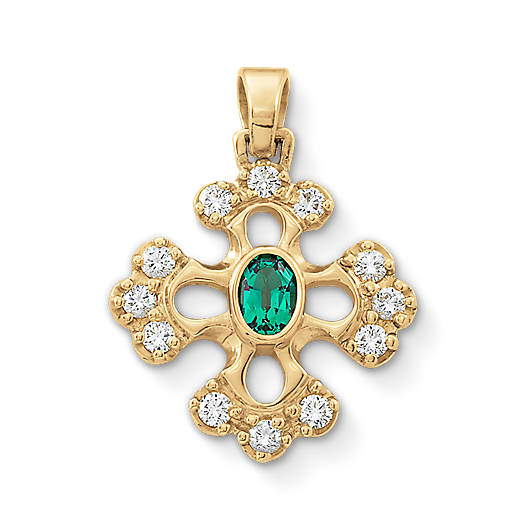 Botonnee Lab-Created Emerald Cross with Diamonds