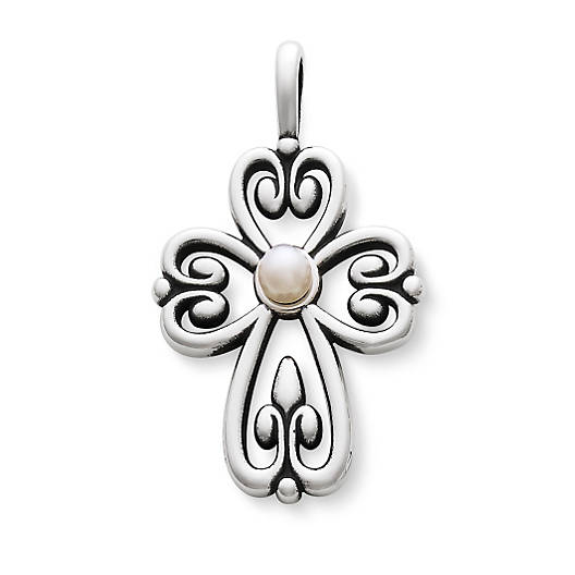 View Larger Image of Cross of Adoration Pendant with Cultured Pearl
