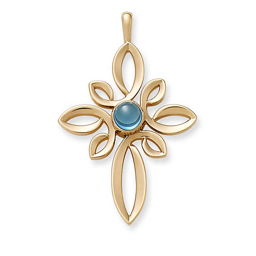 View Larger Image of Radiant Loops Cross with Blue Topaz