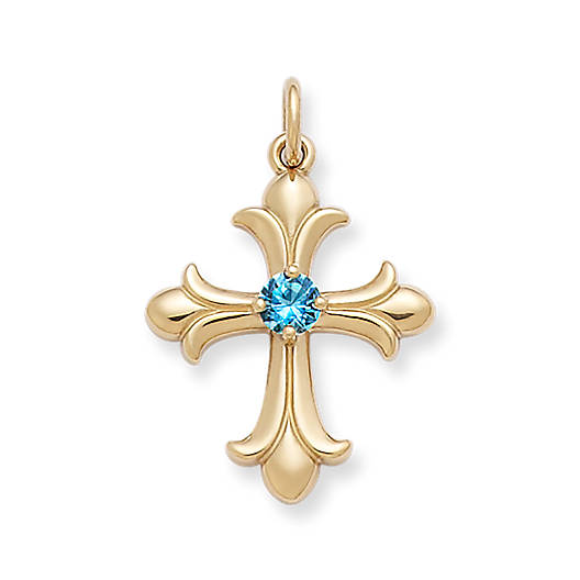 View Larger Image of Fleuree Cross with Blue Topaz