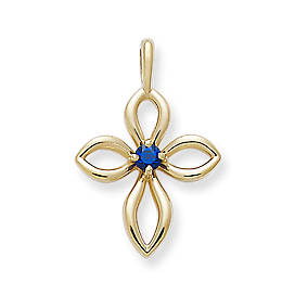 Avery Remembrance Cross with Lab-Created Blue Sapphire