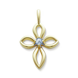 Avery Remembrance Cross with Lab-Created Aqua Spinel
