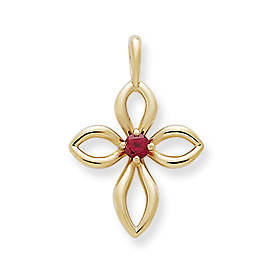 Avery Remembrance Cross with Lab-Created Ruby