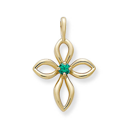 View Larger Image of Avery Remembrance Cross with Lab-Created Emerald