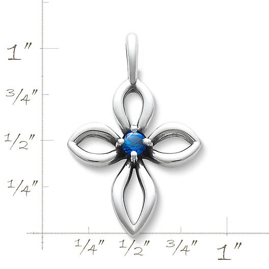 View Larger Image of Avery Remembrance Cross with Lab-Created Blue Sapphire