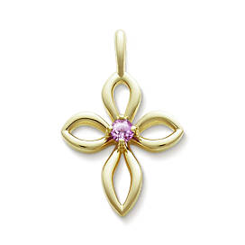 Avery Remembrance Cross with Lab-Created Pink Sapphire