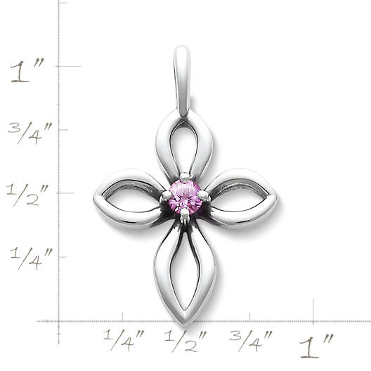 View Larger Image of Avery Remembrance Cross with Lab-Created Pink Sapphire