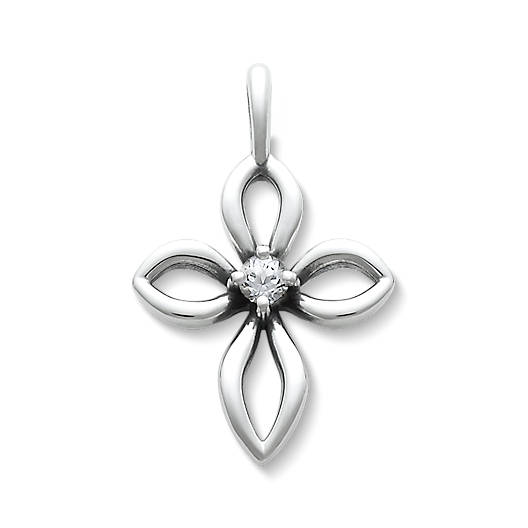 View Larger Image of Avery Remembrance Cross with Lab-Created White Sapphire