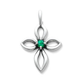 Avery Remembrance Cross with Lab-Created Emerald