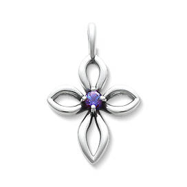 Avery Remembrance Cross with Lab-Created Alexandrite