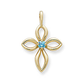 Avery Remembrance Cross with Blue Zircon