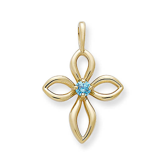 View Larger Image of Avery Remembrance Cross with Blue Zircon