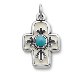 Enamel Floral Mission Cross with Turquoise