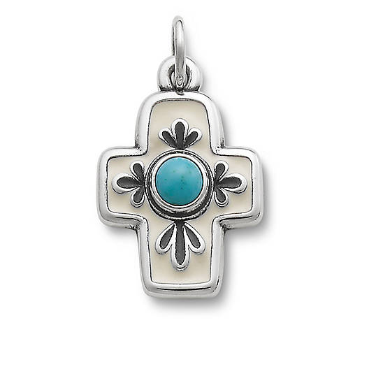 View Larger Image of Enamel Floral Mission Cross with Turquoise