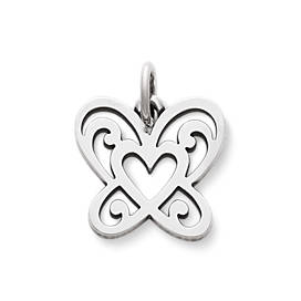 Open Butterfly Heart Charm