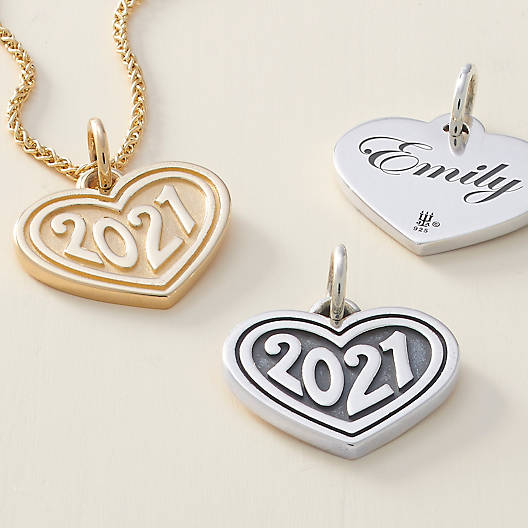"""View Larger Image of Heart with """"2021"""" Charm"""