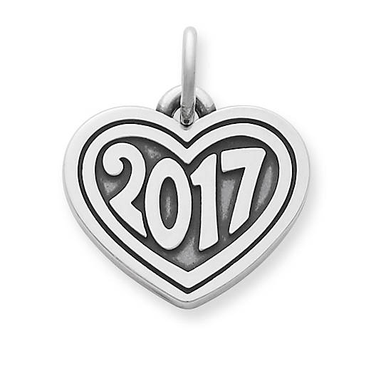 """View Larger Image of Heart with """"2017"""" Charm"""