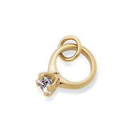 Engagement Ring Charm with Cubic Zirconia