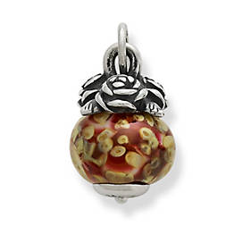 Rose Finial with Red Blossoms Charm