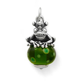 Frog Prince Finial with Green Charm