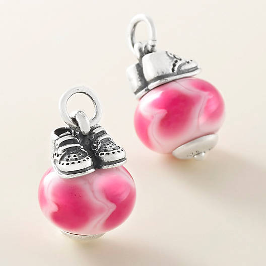 View Larger Image of Baby Girl Shoes with Pink Charm