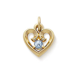 Avery Remembrance Heart with Lab-Created Aqua Spinel