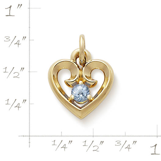 View Larger Image of Avery Remembrance Heart with Lab-Created Aqua Spinel