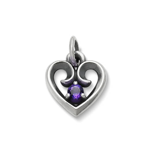 View Larger Image of Avery Remembrance Heart Pendant with Amethyst