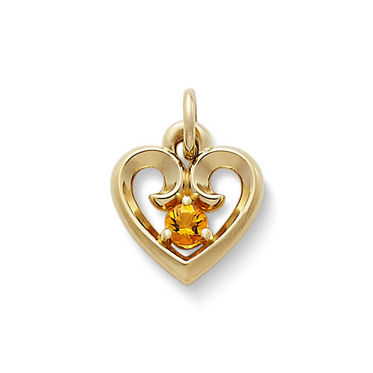 View Larger Image of Avery Remembrance Heart Pendant with Citrine