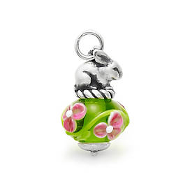 Spring Bunny Art Glass Charm