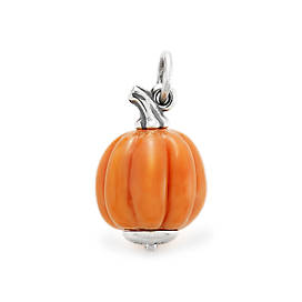Harvest Pumpkin Art Glass Charm