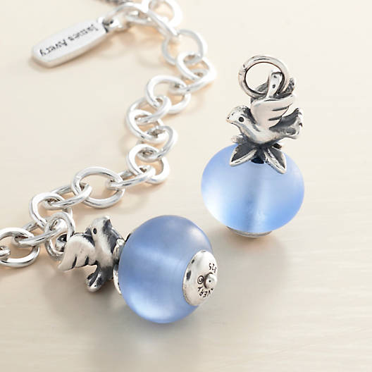 View Larger Image of Dove with Blue Art Glass Charm