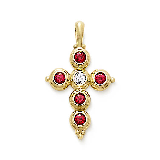 View Larger Image of Antiquity Cross with Lab-Created Rubies & Diamond