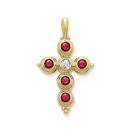 Antiquity Cross with Lab-Created Rubies & Diamond