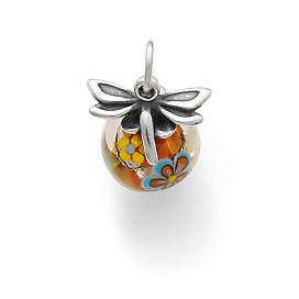 Dragonfly Finial with Orange Floral Charm