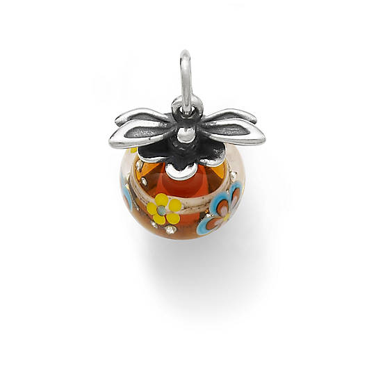 View Larger Image of Dragonfly Finial with Orange Floral Charm