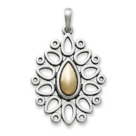 Gold Teardrop Lattice Pendant