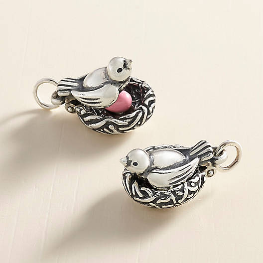View Larger Image of Nesting Bird Charm with Enamel Egg