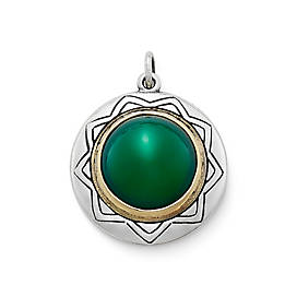 Heirloom Agate Pendant in Sterling & Bronze