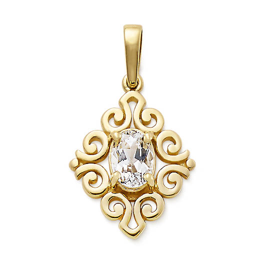 View Larger Image of Scrolled Pendant with Lab-Created White Sapphire