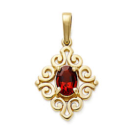 Scrolled Pendant with Garnet