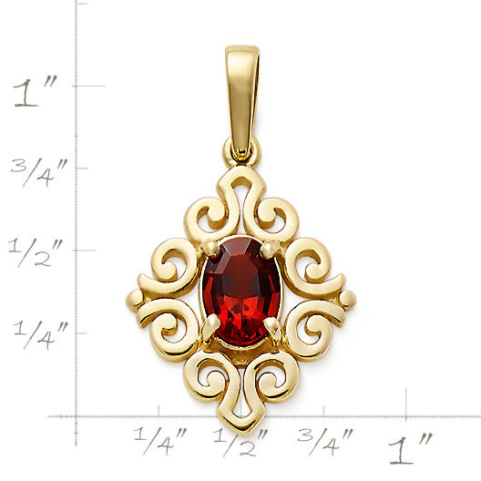 Scrolled Pendant with Garnet - James Avery