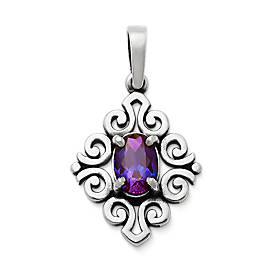 Scrolled Pendant with Lab-Created Alexandrite
