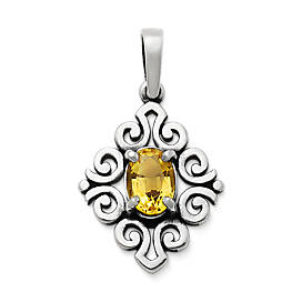 Scrolled Pendant with Citrine