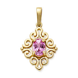 Scrolled Pendant with Lab-Created Pink Sapphire