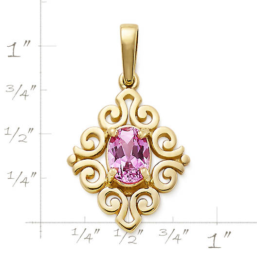 View Larger Image of Scrolled Pendant with Lab-Created Pink Sapphire