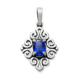 Scrolled Pendant with Lab-Created Blue Sapphire
