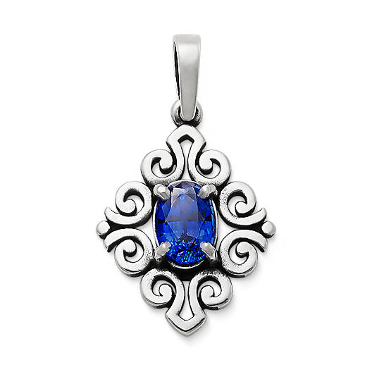 View Larger Image of Scrolled Pendant with Lab-Created Blue Sapphire