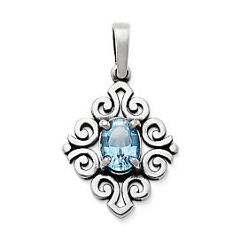 Scrolled Pendant with Blue Topaz