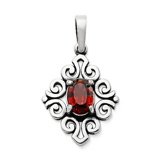 View Larger Image of Scrolled Pendant with Garnet